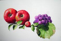 [정물수채화] 사과와 포도 정물 - 수채화 과정 (파브리아노) : 네이버 블로그