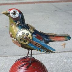 bird art - metalwork - gears - steampunk