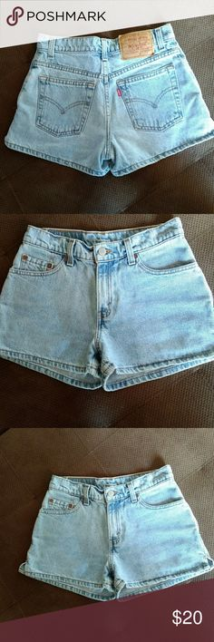 Vintage Levi shorts 90s Levi's! Great condition for used no stains wrips tears anything look like new crazy enough. The coloring of the shorts are the light wash jeans may be a little lighter in real life than pictures but they're pretty close! 3in inseam 14in across the waist and 10in rise 100% cotton Levi's Shorts Jean Shorts