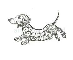 Art of Dachshund Dachshund Zentangle \ Dachshund Funny, Dachshund Art, Daschund Tattoo, Dashund, Weenie Dogs, Doggies, Dog Art, Animals And Pets, Cute Dogs