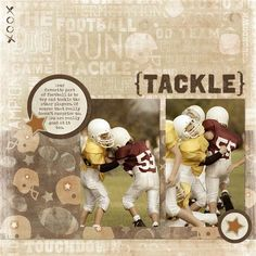 Football Digital Scrapbook Layout / Photo Book page from Creative Memories Project Center, July 12, 2011, Detailed Instructions: projectcenter.cre... $5.95