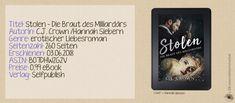 """""""Stolen - Die Braut des Milliardärs"""" von Hannah Siebern alias C.J. Crown ist ein spannungsgeladener Liebesroman mit erotischen Szenen, der mich ab der ersten Seite begeistern konnte. Eine Story über üble Machenschaften der Pariser Unterwelt, der Liebe und einem ausgeprägten Familienzusammenhalt.  Ein Pageturner zum Abtauchen!  Zur vollständigen Rezension:  https://katisbuecherwelt.de/2018/06/11/stolen-die-braut-des-milliardaers-c-j-crown-hannah-siebern/"""