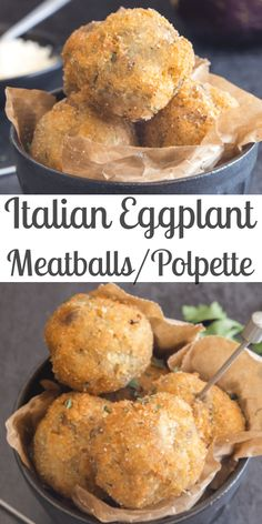 These easy Eggplant Meatballs without the meat, are a fast, easy and tasty way to use eggplant. Make them as a main dish or appetizer. Make lots because they go quick! - Italian Eggplant Meatballs / Polpette - An Italian in my Kitchen Eggplant Dishes, Baked Eggplant, Eggplant Recipes, Healthy Sweet Snacks, Nutritious Snacks, Vegetable Recipes, Vegetarian Recipes, Cooking Recipes, Vegetarian Meatballs