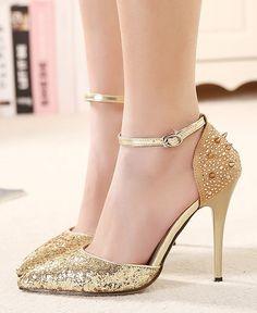 Rivet Pointed Toe High Heels Stiletto