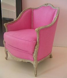French chair upholstered in a hot pink linen. Hotness!