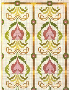 Cross Stitch Borders, Cross Stitch Designs, Cross Stitch Patterns, Stitch 2, Diy Projects To Try, Needlepoint, Embroidery Patterns, Art Nouveau, Quilts