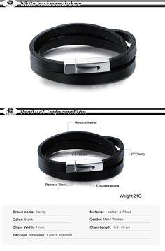 497d7552265f Aliexpress.com  Comprar Jiayiqi moda hombres pulsera brazalete negro Cuero  auténtico pulsera brazalete para hombres joyería pulsera corchete del acero  ...