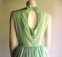 1950s Open Back Vintage Dress in Green n White by pintuckstyle, $65.00