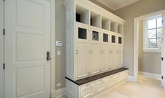 Wood Lockers with doors  laundry room