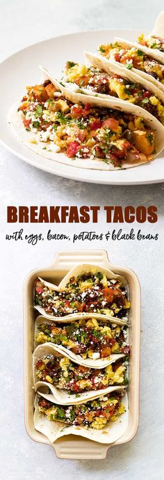 These breakfast tacos are loaded with scrambled eggs, potatoes, bacon black beans, and all the toppings! #tacos #breakfast #eggs #blackbeans #brunch #bacon #potatoes via @april7116