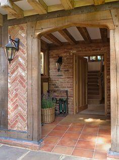 Border Oak and Herringbone brick detail! Border Oak, Brick Border, Oak Framed Buildings, Modern Buildings, Oak Frame House, Casa Patio, Brick Detail, Brickwork, Rustic Kitchen