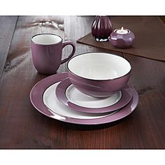 @Overstock.com - Create a festive setting with this American Atelier Regency plum hand-painted dinner set. This dinnerware set features service for four with a purple and white design.http://www.overstock.com/Home-Garden/American-Atelier-Regency-Plum-16-pc-Dinnerware-Set/5973960/product.html?CID=214117 $48.33