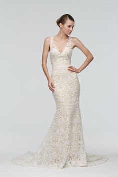 V-Neck Fit and Flare Wedding Dress  with Natural Waist in Lace. Bridal Gown Style Number:33344417