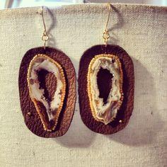 Geode/ agate leather beaded earrings. Lightweight. #springpaperjewelry #bohoglam #leatherjewelry