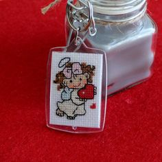 Cross stitch angel with heart. On one side there is an angel, with a reverse heart. Cloth Aida cotton DMC floss, 7 colours Picture Frame Thanks for visiting my shop! Cross Stitch Pictures, Plastic Canvas, Picture Frames, Boards, Personalized Items, Unique Jewelry, Handmade Gifts, Etsy, Image