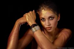 """Rough gold"" Photography by Janne Kommonen/Compassion, Body painting by Riina Laine, model Iris, Colored silver jewelry by Calgaro/Italy"