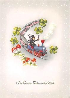 BG20756  train clover mushroom chimney sweep new year neujahr   germany