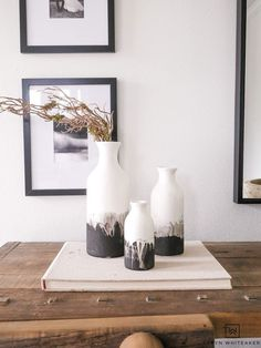 Learn how to make these DIY Black and White Ceramic Vases uses vases from the craft store and black chalk paint.