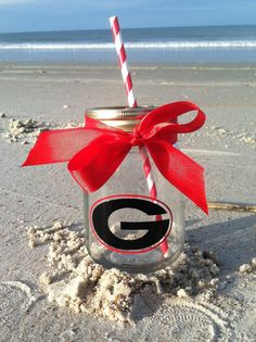 Georgia Bulldogs Personalized Mason Jar Cup by TooCutePersonalized
