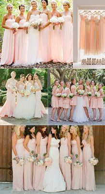 fabulous summer beach wedding colors with matched bridesmaid dresses. what are the advantages having a beach wedding too much! most beach wedding themes are tend to be typically romantic and cozy, no. Blush Bridesmaid Dresses, Bridesmaids And Groomsmen, Wedding Bridesmaids, Bridal Dresses, Blush Dresses, Bridesmade Dresses, Long Dresses, Wedding Bouquets, Evening Dresses