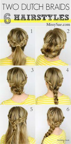 Two Dutch Braids - 6 Hairstyles