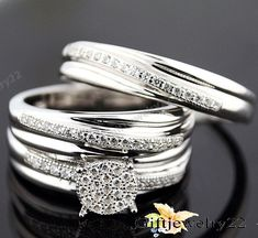 His & Hers Lab Diamond Engagement Rings Trio Bridal Sets White Gold Finish  #giftjewelry22