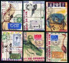 from Johanna's blog, Nick Bantock inspired ATCs, real postage stamps make all the difference