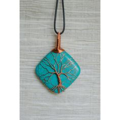 Tree of Life copper wire wrapped natural turquoise pendant (2.135 RUB) ❤ liked on Polyvore featuring home, lighting, ceiling lights, tree lamp, turquoise lamp, copper wire tree, copper wire lights and tree lights