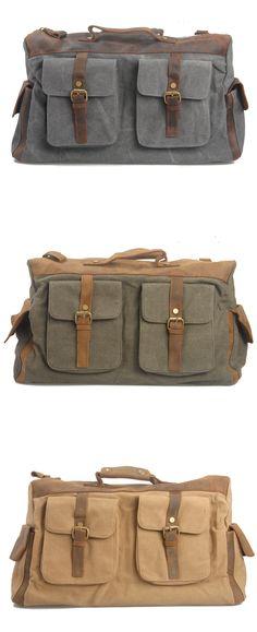 Vintage Canvas Leather Travel Bag Briefcase Messenger Shoulder Bag Dufulle Bag