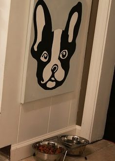 so cute! DIY Boston Terrier canvas (wonder if I could use a real pic instead of clip art) @Jessica Bates