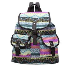 Guoqueen Unisex Canvas Diamond Ripple Stripe Pattern Backpack School College Laptop Bag For Teens Girls Boys Students, 3 -- Awesome products selected by Anna Churchill