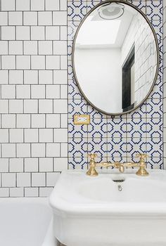 This square foot Brooklyn home tour makes some big design choices, like a bold teal sofa, a stunning kitchen, mixed bath tiles and more. Bad Inspiration, Bathroom Inspiration, Interior Inspiration, Big Design, Deco Design, House Design, Design Trends, Design Ideas, Wall Design