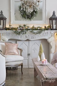 french country cottage christmas + blush accents