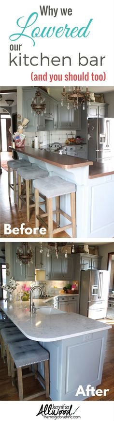 Why we lowered our kitchen bar in our remodel - and why you should too! Our new Silestone counterops are amazing! More DIY decorating and painting tips at theMagicBrushinc.com