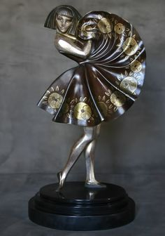 c.1925 ~ Art Deco Bronze Figure by Marcel-Andre Bouraine (1886-1948), French Sculptor ....