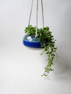 Small Hanging Planter - Hanging Vase for succulent plants - Light & Dark Blue Green Handmade Ceramic hanging planter by viCeramics on Etsy