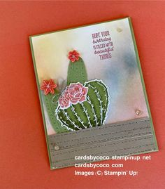 Flowering Cactus Medley and Blending Brushes Handmade, cards, paper, stamps, ink, Stampin up, cactus, blending brushes Handmade Stamps, Handmade Cards, Paper Crafts, Diy Crafts, Stamping Up, Felt Flowers, It's Your Birthday, Small Gifts, Stampin Up Cards