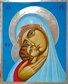 Theotokos (contemporary) by Agnessa Kessiakova Religious Icons, Religious Art, Madonna, Mary Magdalene And Jesus, Orthodox Icons, Blessed Mother, Sacred Art, Mother Mary, Jesus Christ