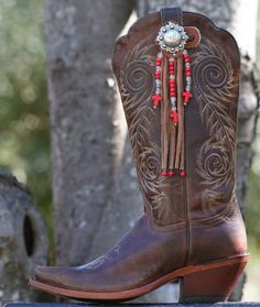 Items similar to Boot Candy Toppers Red Crosses And Fringe on Etsy Boot Jewelry, Bling Jewelry, Jewelery, Boot Bracelet, Ankle Bracelets, Cowboy Hat Bands, Cowgirl Boots, Western Boots, Boot Bling