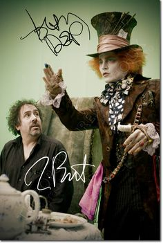 JOHNNY DEPP TIM BURTON SIGNED PHOTO PRINT ALICE IN WONDERLAND AUTOGRAPH POSTER | eBay
