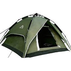 SUPOWTM 4Person Capacity Double Layer Outdoor Rainproof Waterproof Camping Tent Instant Complete Automatic Lightweight Tent For Hiking ClimbingCamping Family Pop Up Umbrella Tent Amy Green ** Visit the image link more details.