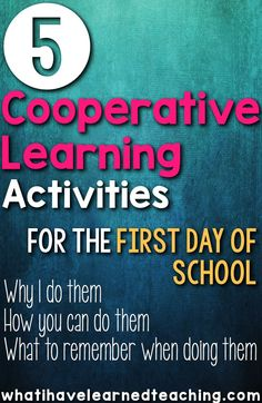 Five cooperative learning activities that will help build your classroom community during the first week of school. Find out the activities that I have fallen in love with over the past 16 years of teaching. First Day of School First Day Of School Activities, 1st Day Of School, Beginning Of The School Year, Middle School, Cooperative Learning Strategies, Cooperative Games, Communication Orale, Material Didático, School Classroom
