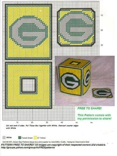 Packers Plastic Canvas Coasters, Plastic Canvas Tissue Boxes, Plastic Canvas Crafts, Plastic Canvas Patterns, Beaded Cross Stitch, Cross Stitch Patterns, Football Crafts, Nfl Football, Football Helmets