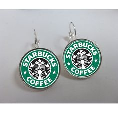 Leverback earrings. Starbucks earrings. Coffee earrings. Starbucks jewelry.