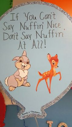 Bambi and Thumper quote Bambi And Thumper, Child Development, Winnie The Pooh, Art Projects, Disney Characters, Fictional Characters, Students, Sayings, Children