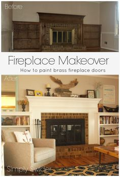 quick and easy fireplace makeover: how to paint a brass fireplace surround and how to paint brass fireplace tools