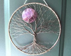 Amethyst Moon Tree of Life Wall Hanging, Sun Catcher, Double-sided Tree Decor with Purple Amethyst Moon