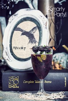"""Edgar Allan Poe theme Halloween dinner party cocktail called """"The Raven."""" Click for more inspiration."""