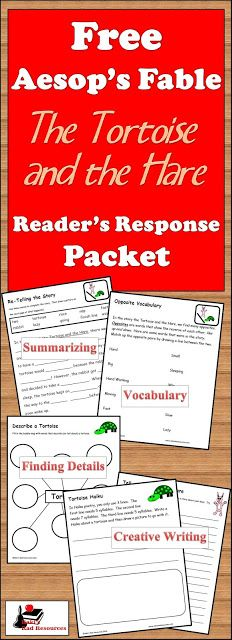 """Readers Response Packet for The Tortoise and the Hare   Fables are commonly used on reading comprehension tests. This is often because they are copyright free and easy to use. Additionally fables are often quoted in other stories because they are considered """"common culture"""" that most anyone would know. Unfortunately many of our students don't know common fables. This Readers Response Packet for The Tortoise and the Hare allows students to make multiple connections to this common fable…"""