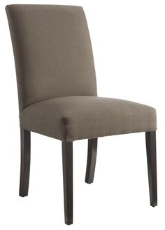 The straight-backed Lincoln dining chair, upholstered in a soft brown mule fabric with contrasting espresso timber legs, is an elegant addition to any neutral décor. Price $199.